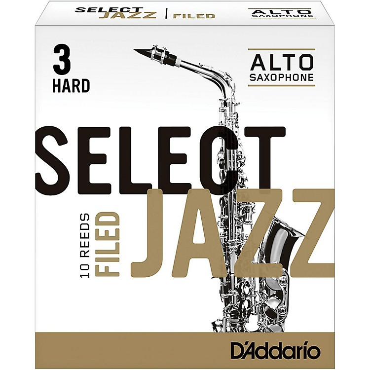 D'Addario WoodwindsSelect Jazz Filed Alto Saxophone ReedsStrength 3 HardBox of 10