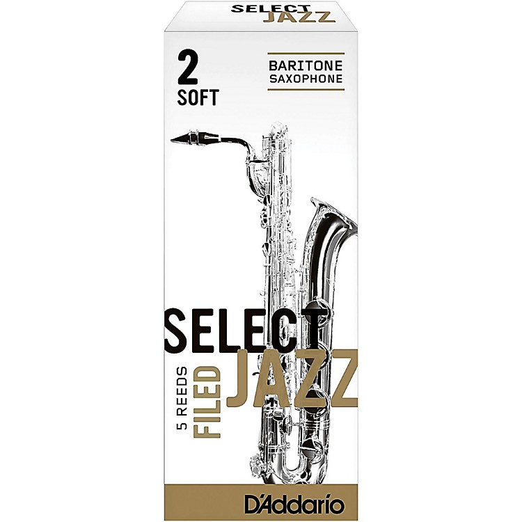 D'Addario Woodwinds Select Jazz Filed Baritone Saxophone Reeds Strength 2 Soft Box of 5