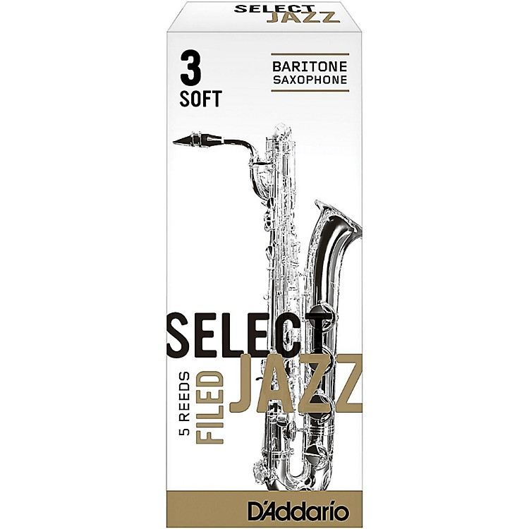 D'Addario WoodwindsSelect Jazz Filed Baritone Saxophone ReedsStrength 3 SoftBox of 5