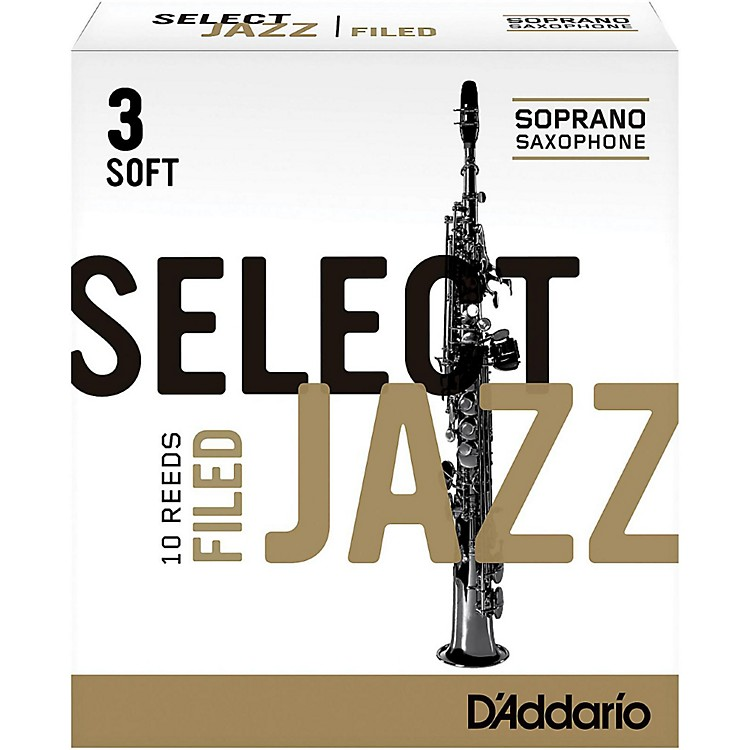 D'Addario WoodwindsSelect Jazz Filed Soprano Saxophone ReedsStrength 3 SoftBox of 10