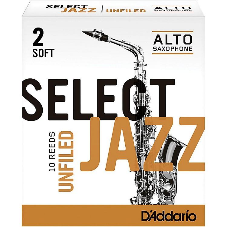 D'Addario WoodwindsSelect Jazz Unfiled Alto Saxophone ReedsStrength 2 SoftBox of 10