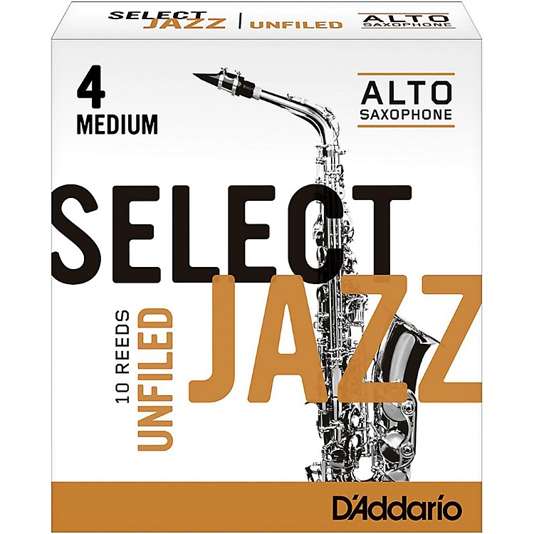 D'Addario Woodwinds Select Jazz Unfiled Alto Saxophone Reeds Strength 4 Medium Box of 10
