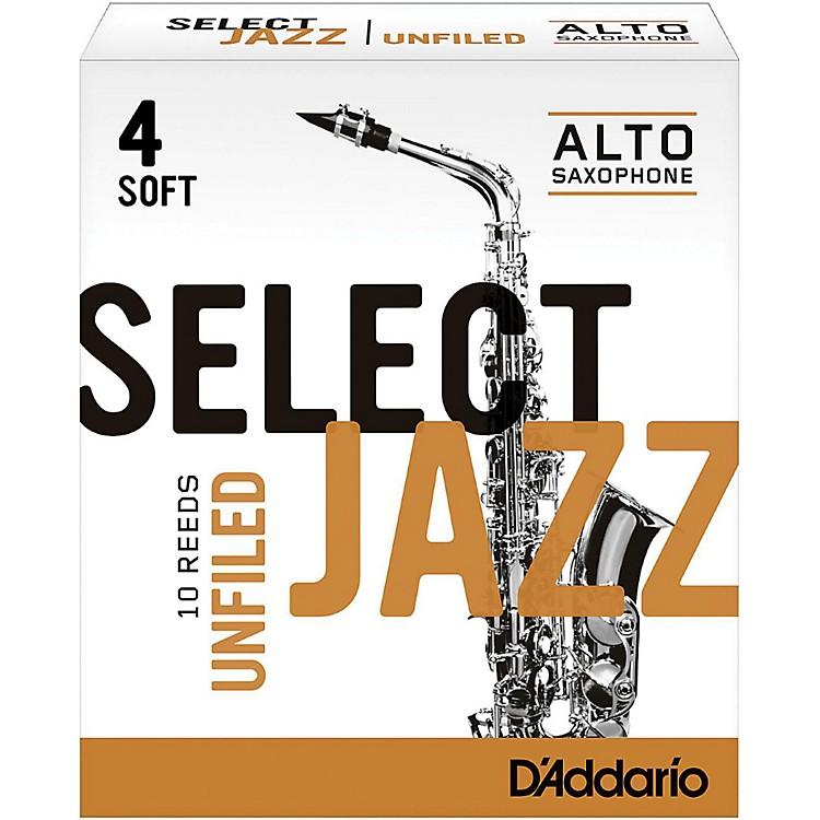D'Addario WoodwindsSelect Jazz Unfiled Alto Saxophone ReedsStrength 4 SoftBox of 10