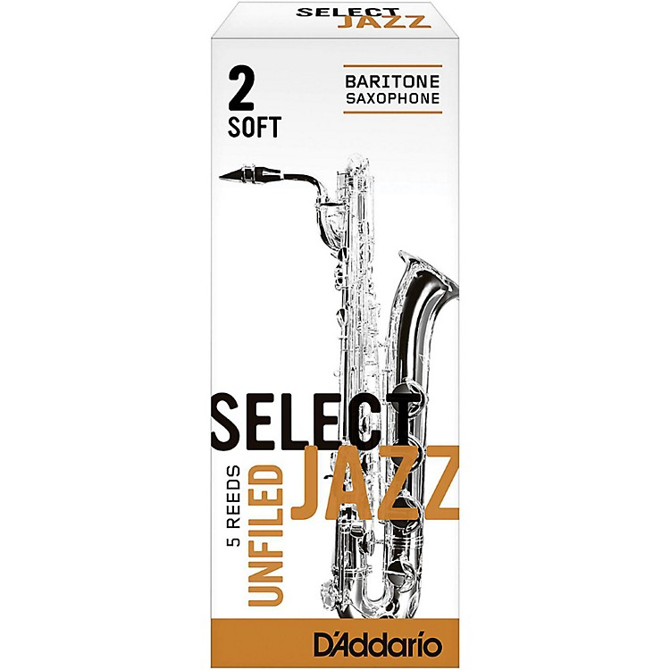D'Addario WoodwindsSelect Jazz Unfiled Baritone Saxophone ReedsStrength 2 SoftBox of 5