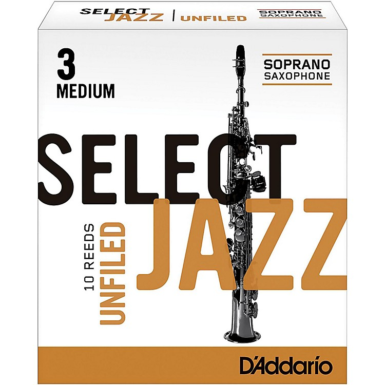 D'Addario Woodwinds Select Jazz Unfiled Soprano Saxophone Reeds Strength 4 Soft Box of 10