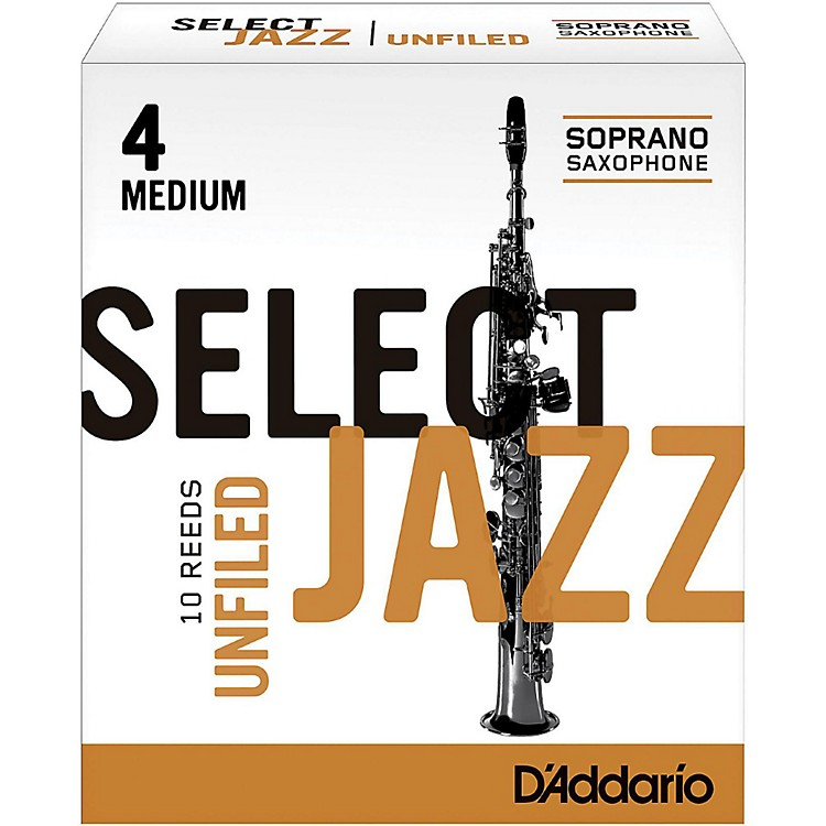 D'Addario Woodwinds Select Jazz Unfiled Soprano Saxophone Reeds Strength 4 Medium Box of 10