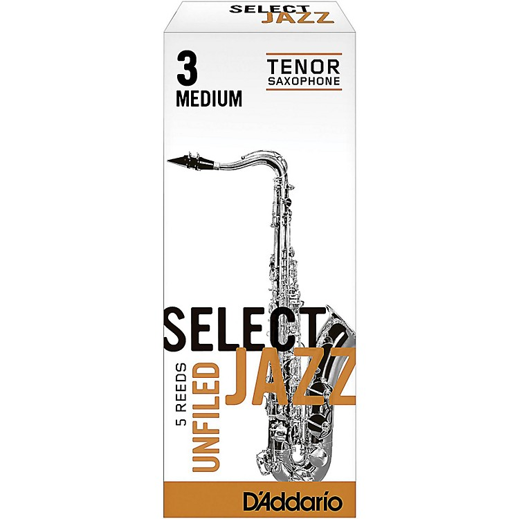 D'Addario Woodwinds Select Jazz Unfiled Tenor Saxophone Reeds Strength 3 Medium Box of 5