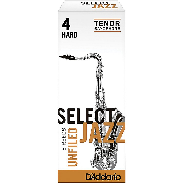 D'Addario Woodwinds Select Jazz Unfiled Tenor Saxophone Reeds Strength 4 Hard Box of 5