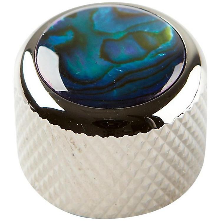 Q PartsShell Dome Knob SingleBlack ChromeBlue Abalone