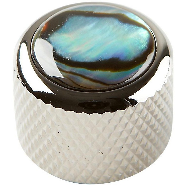 Q Parts Shell Dome Knob Single Black Chrome Natural Abalone