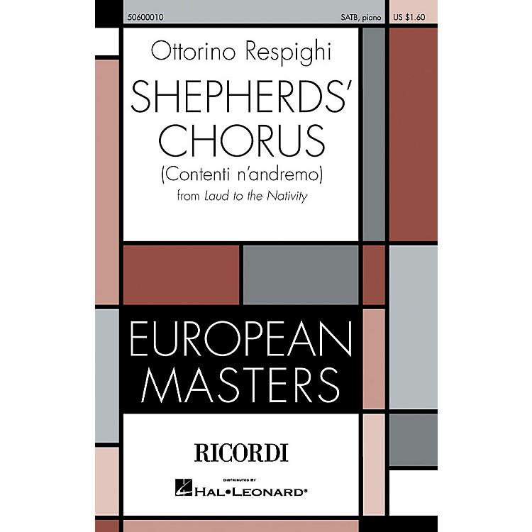 RicordiShepherd's Chorus (Contenti n'andremo) (From Laud to the Nativity) SATB by Ottorino Respighi