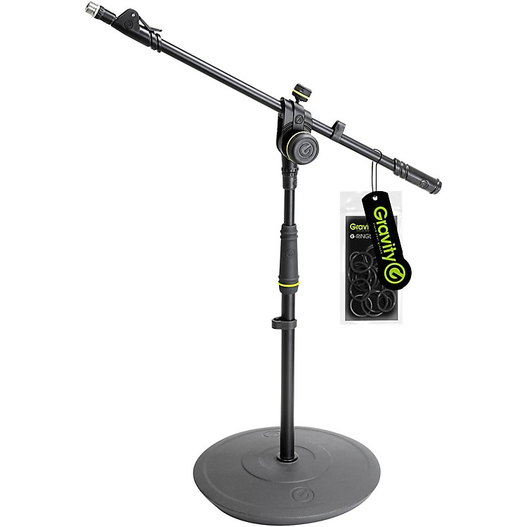 Gravity StandsShort Microphone Stand With Round Base And 2-Point Adjustment Telescoping Boom