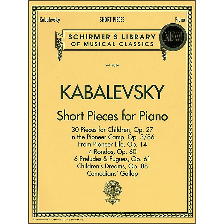 G. SchirmerShort Pieces for Piano Solo Intermediate Level By Kabalevsky