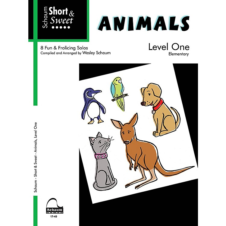 SCHAUM Short & Sweet: Animals (Level 1 Elem Level) Educational Piano Book