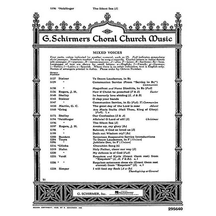 G. SchirmerSilent Sea W/Pno Or Org SATB composed by W Neidlinger