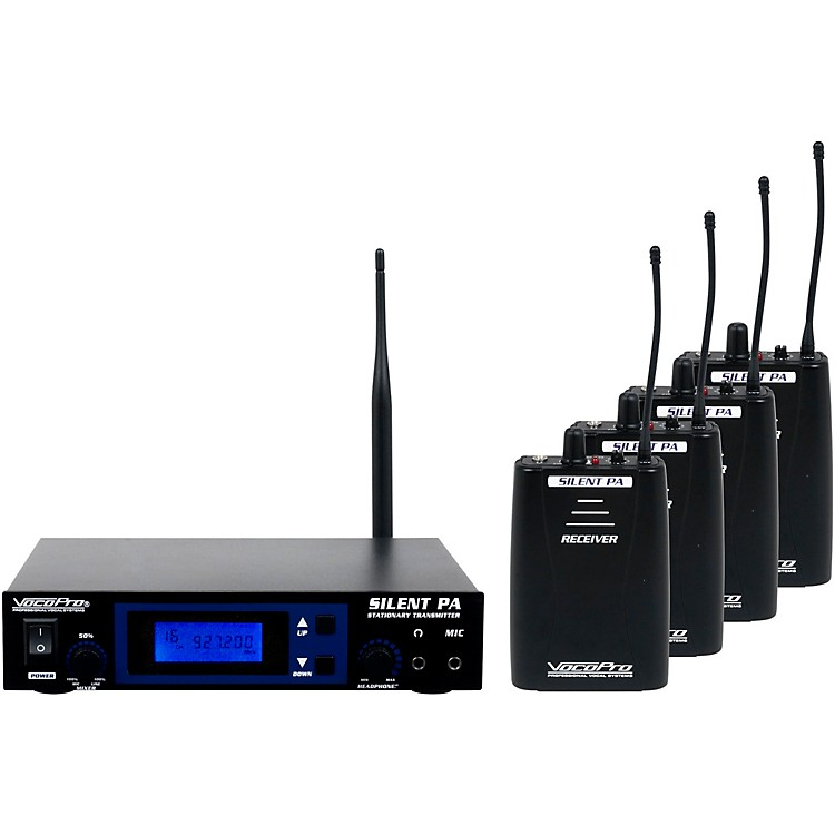 VocoPro SilentPA-PRACTICE 16CH UHF Wireless Audio Broadcast System (Stationary Transmitter with four bodypack receivers)