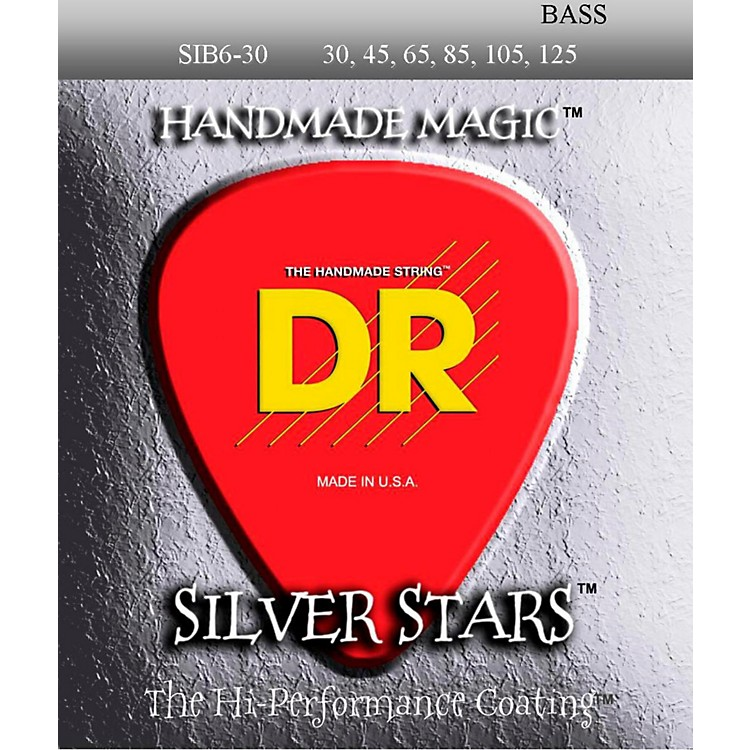 DR Strings Silver Stars Coated 6 String Bass Medium (30-125)