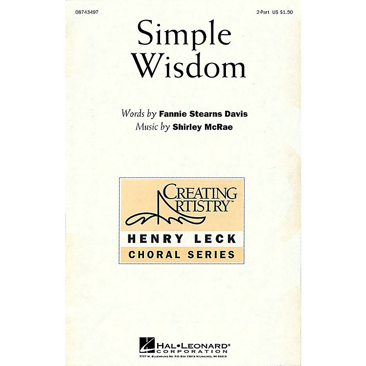 Hal Leonard Simple Wisdom 2-Part composed by Shirley McRae