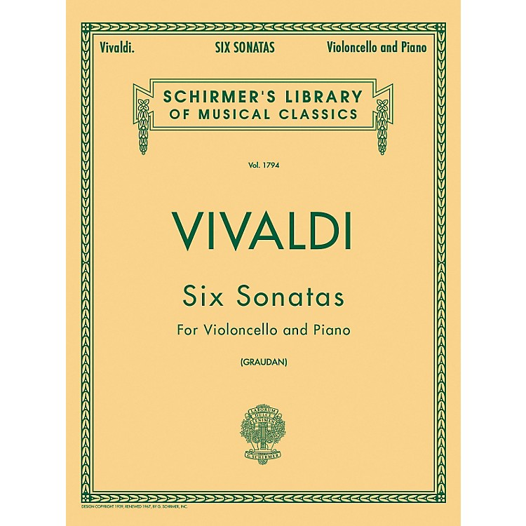 G. Schirmer Six Sonatas for Violoncello And Piano By Vivaldi