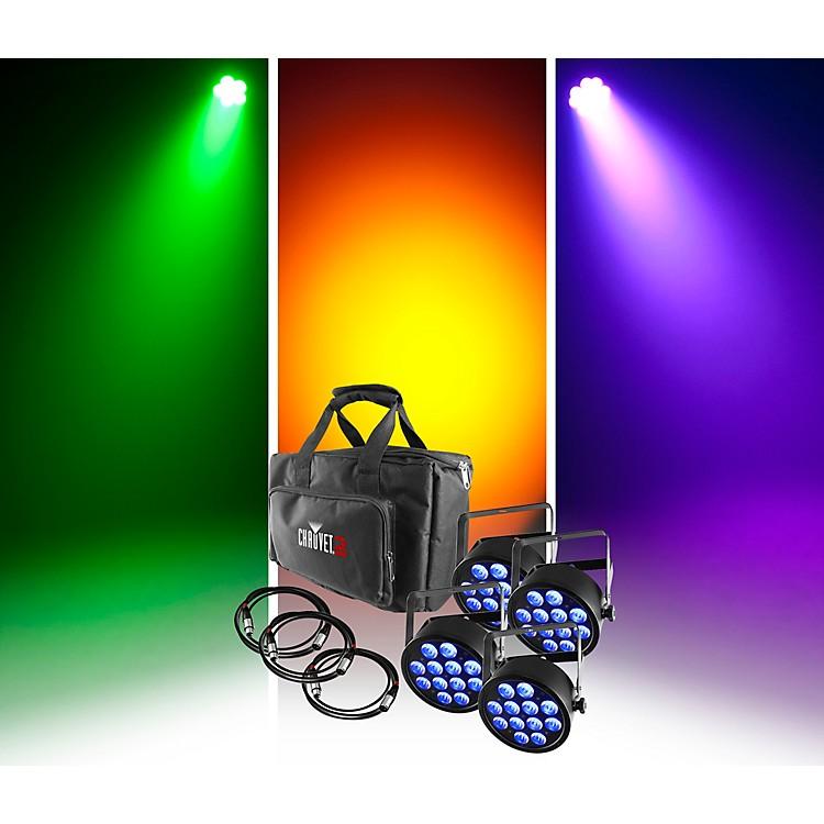 Chauvet DJSlimPACK Q12 USB - 4 SlimPAR Q12 USB Wash Lights and 3 DMX Cables with Custom Gear Bag