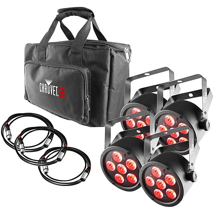 CHAUVET DJSlimPACK T6 USB - 4 SlimPAR T6 USB Lights and 3 DMX Cables with Gear Bag