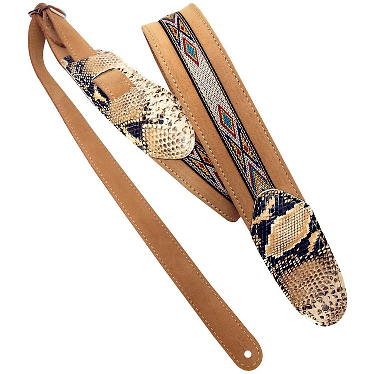 LM Products Snake Embossed and Suede Guitar Strap Tan