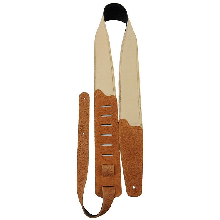 Perri's Soft Garment Leather Padded Embossed Floral Pattern Guitar Strap Light Tan 2.5 in.