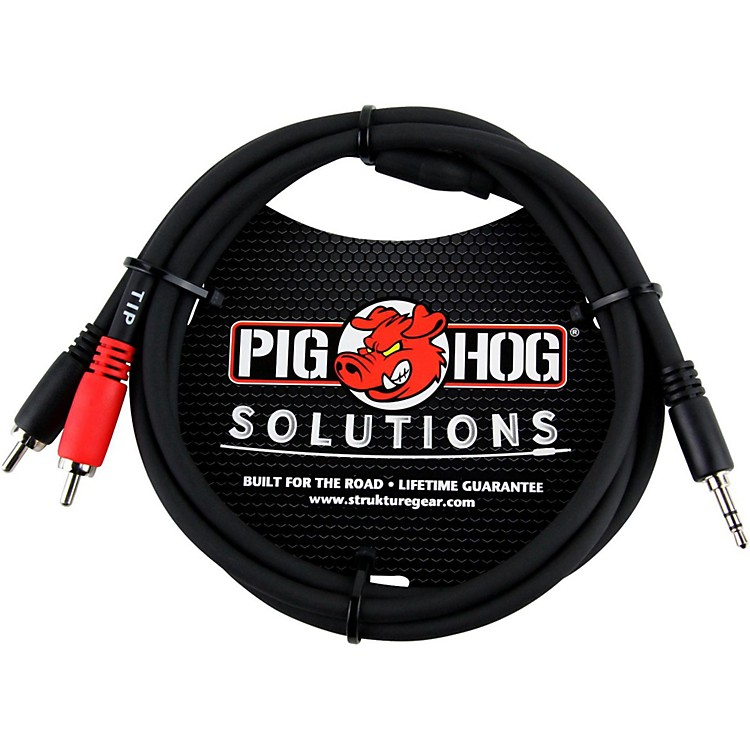 Pig Hog Solutions Stereo Breakout Cable 3.5 mm to Dual RCA  3 ft.