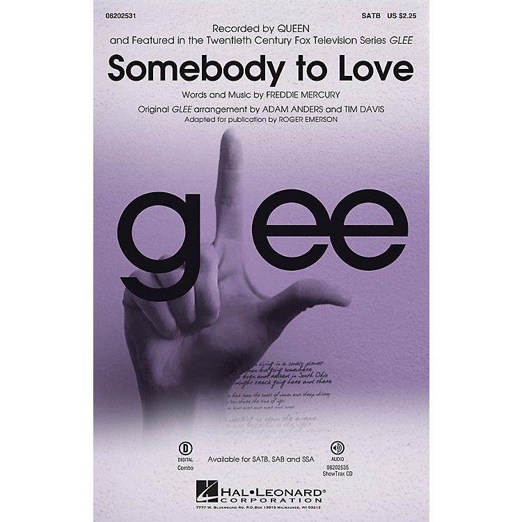 Hal LeonardSomebody to Love (from Glee) SATB by Queen arranged by Roger Emerson