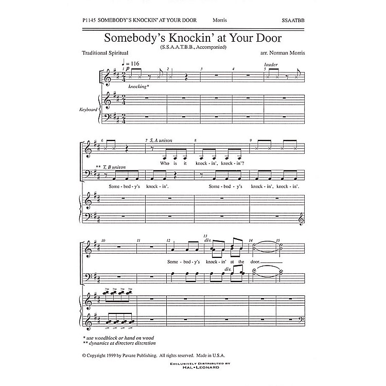 Pavane Somebody's Knockin' at Your Door SATB arranged by Norman Morris