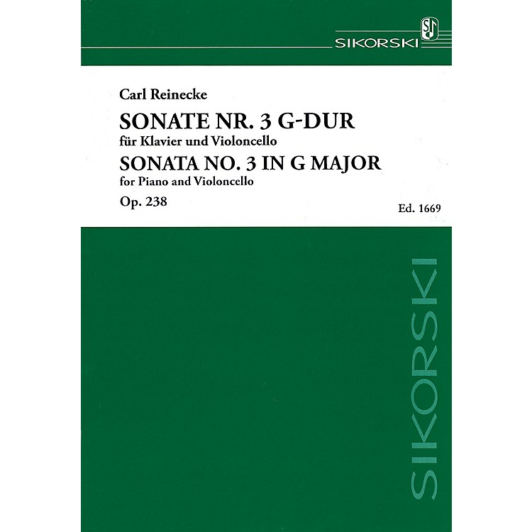 SikorskiSonata No. 3 in G Major, Op. 238 (Piano and Violoncello) String Series Softcover by Carl Reinecke