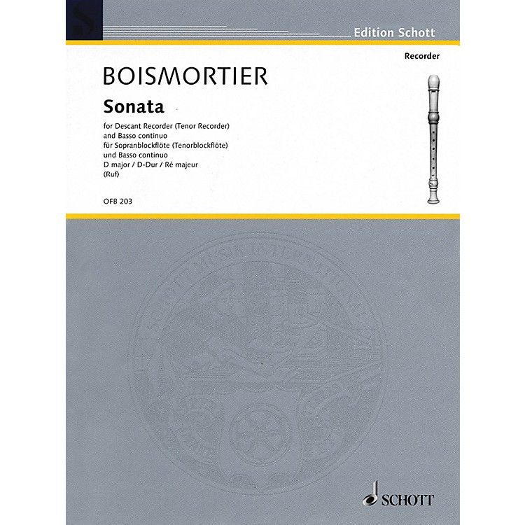 Schott Sonata in D Major (For Descant Recorder and Basso Continuo) Schott Series