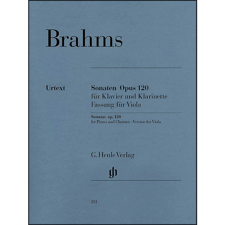 G. Henle VerlagSonatas for Piano And Clarinet (Or Viola) Opus 120 Nos.1 & 2 (Version for Viola) By Brahms