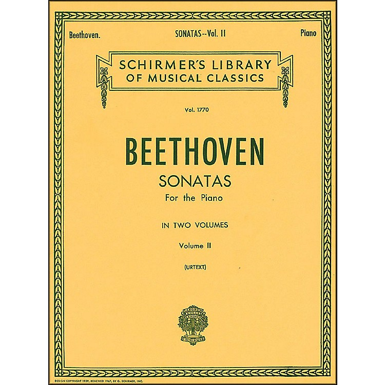 G. SchirmerSonatas for Piano Volume 2 Urtext By Beethoven