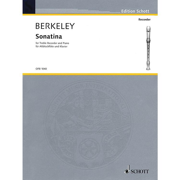 SchottSonatina, Op. 13 (for Treble Recorder and Piano) Schott Series by Lennox Berkeley