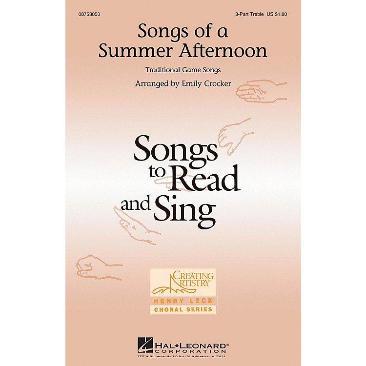 Hal LeonardSongs of a Summer Afternoon 3 Part Treble arranged by Emily Crocker