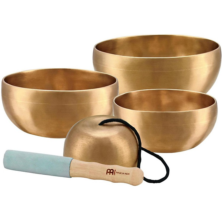 Meinl Sonic Energy 4-piece Universal Singing Bowl Set with Resonant Mallet 4.5, 4.9, 5.5, 3.7 in.