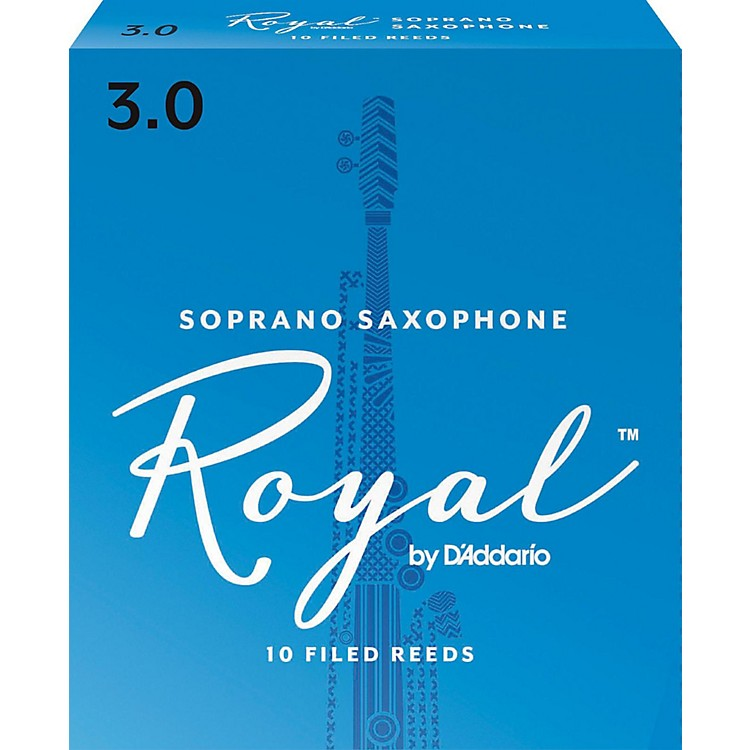 Rico Royal Soprano Saxophone Reeds, Box of 10 Strength 3
