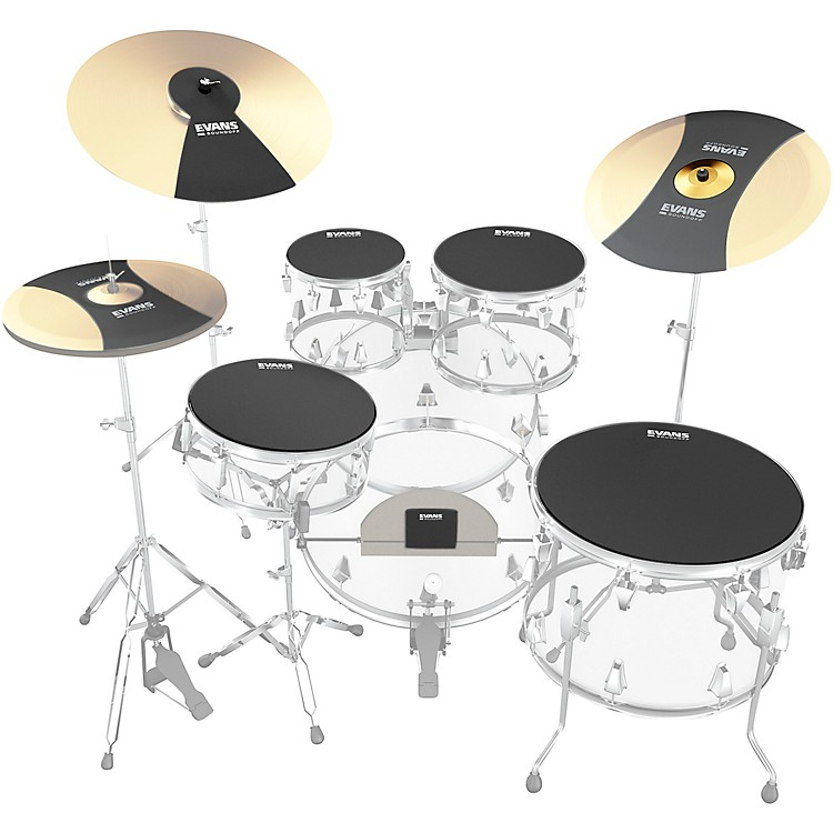 Evans SoundOff Drum Mutes Box Set, Rock 10,12,14,16,22 in.,hi-hat,and cymbal (2) Black