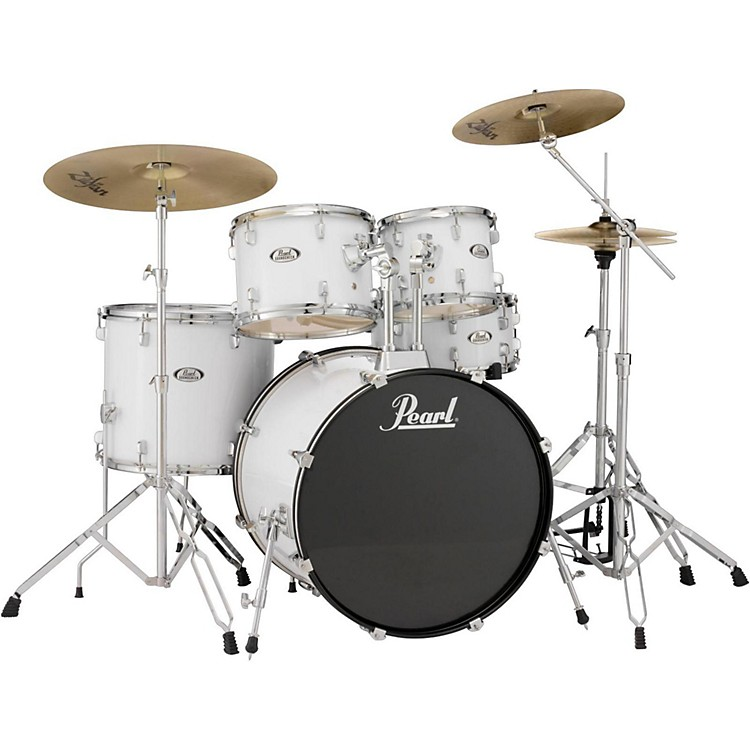 pearl soundcheck complete 5 pc drum set with hardware and zildjian planet z cymbals pure white. Black Bedroom Furniture Sets. Home Design Ideas