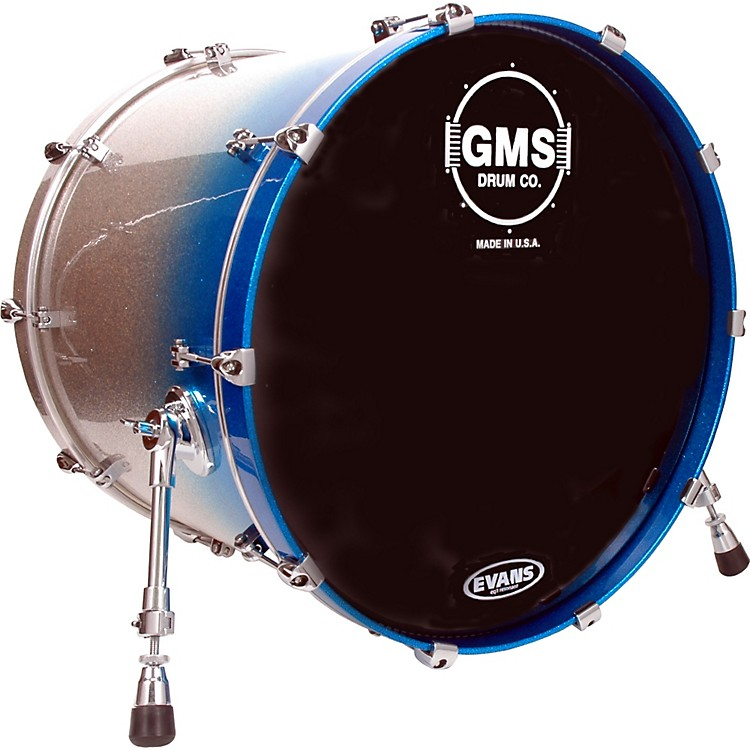 GMS Special Edition Bass Drum 24 x 18 in. Silver/Blue Sparkle Fade