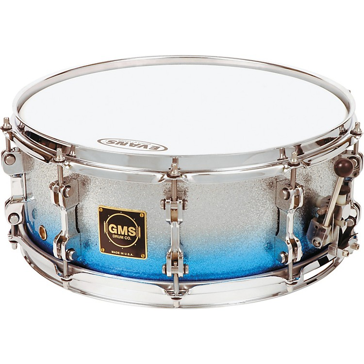 GMS Special Edition Snare Drum 14 x 6.5 in. Silver/Blue Sparkle Fade