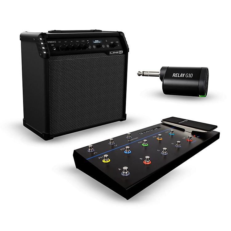 Line 6Spider V 60 60W 1x10 Guitar Combo Amp with FBV 3 Footswitch and Relay G10T Wireless Transmitter