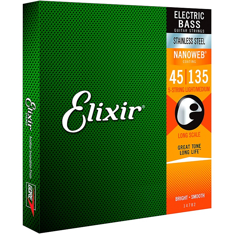 Elixir Stainless Steel 5-String Bass Strings with NANOWEB Coating, Long Scale, Light/Medium (.045-.135)