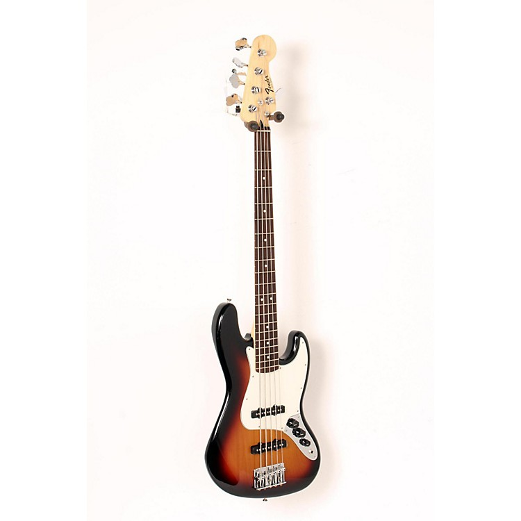 Fender Standard 5-String Jazz Bass Guitar Brown Sunburst, Rosewood Fretboard 888365904818