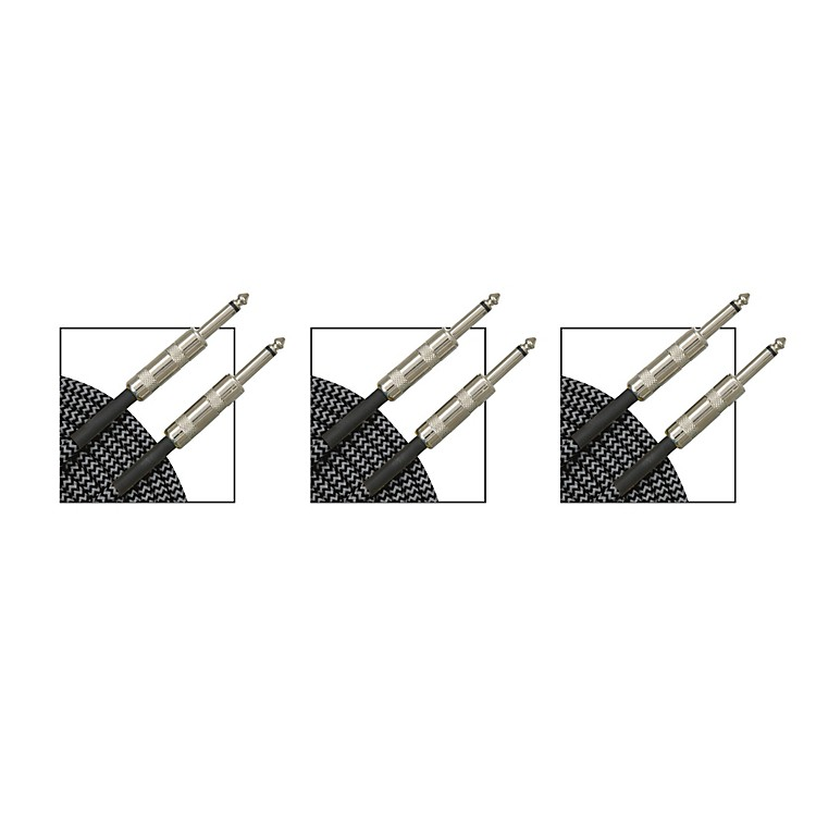 Musician's GearStandard Instrument Cable Black and Silver Tweed - 20 ft. - 3 Pack