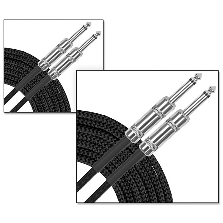 Musician's Gear Standard Instrument Cable Braid-20 ft.-Black (2 Pack)