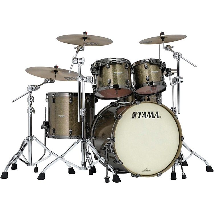 Tama Starclassic Bubinga 4-Piece Shell Pack Silver Snow Racing Stripe