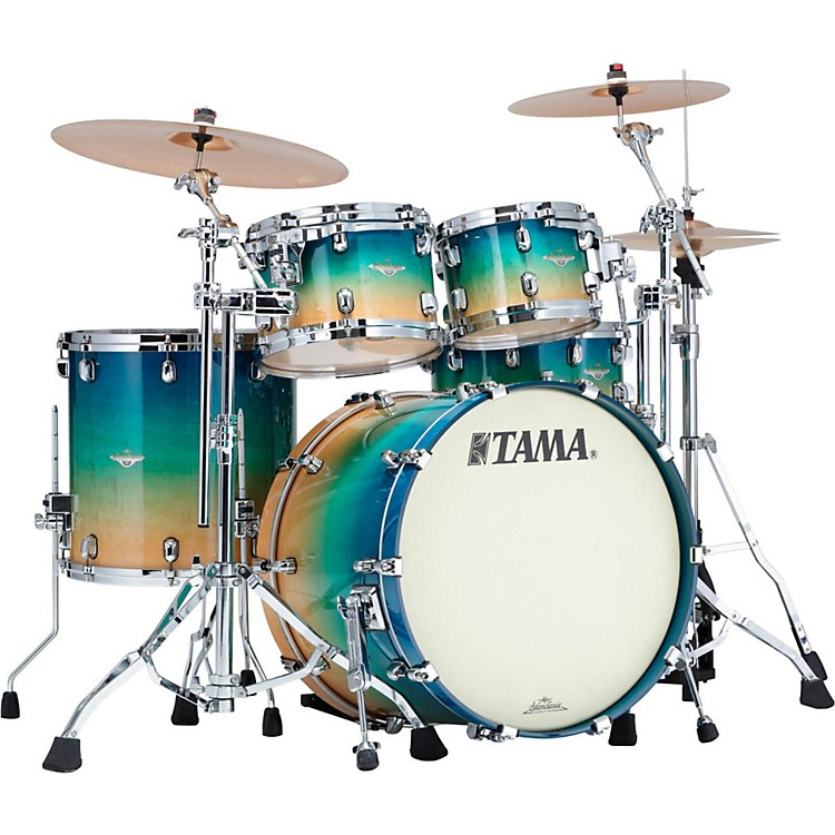 Tama Starclassic Maple Exotix 4-Piece Shell Kit with Chrome Shell Hardware Caribbean Sea Blue Fade Figured