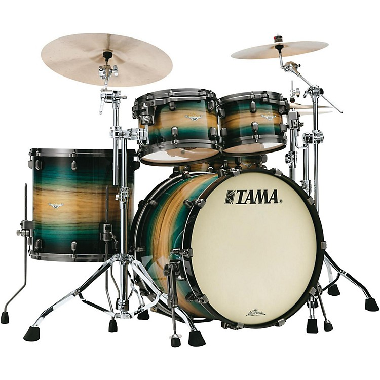 TamaStarclassic Maple Exotix Pacific Walnut 4-Piece Shell Pack with Smoked Black Nickel Hardware and 22 in. Bass DrumNatural Pacific Walnut Burst